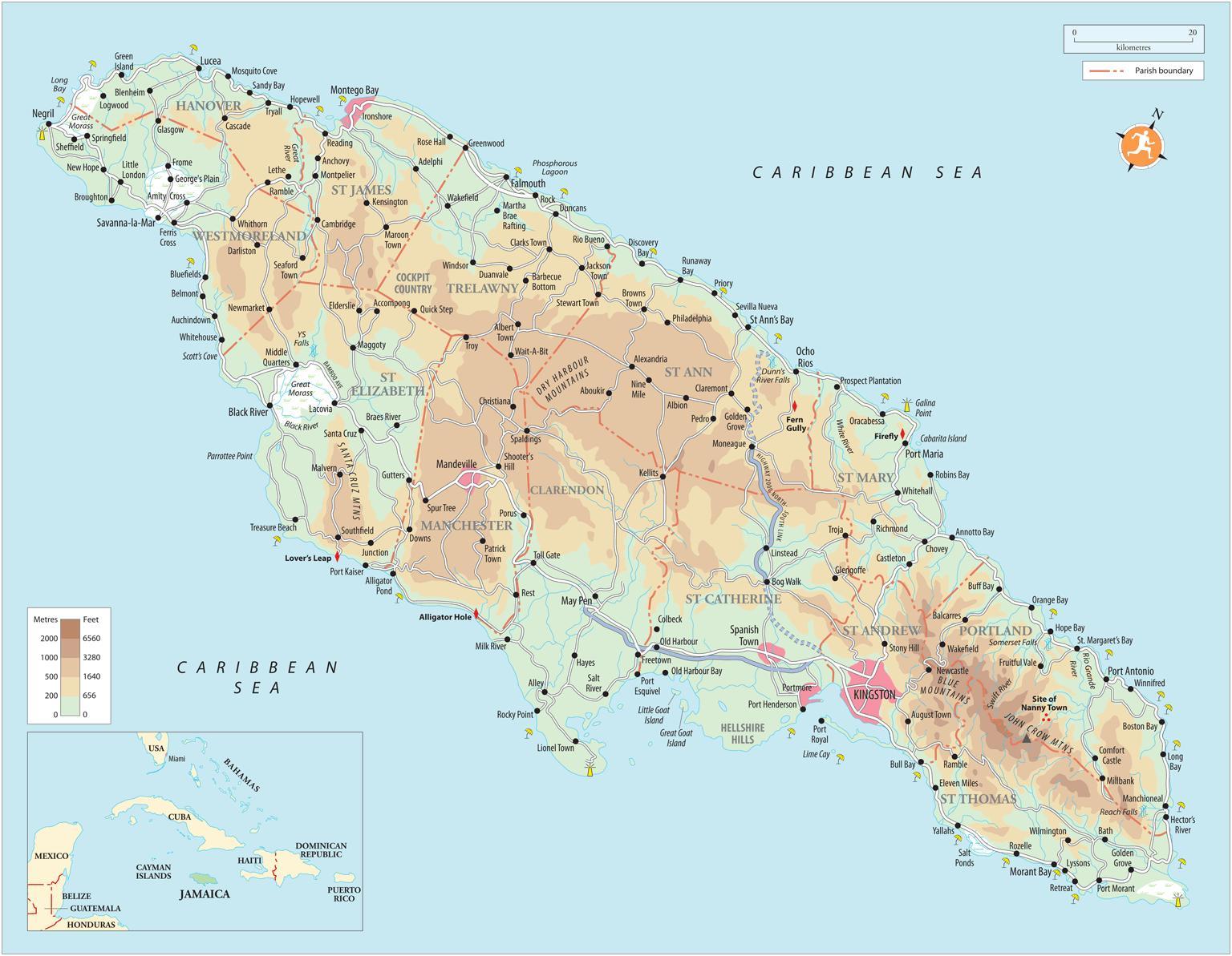 Karibik Karte.South Coast Jamaika Karte Map South Coast Jamaica Karibik