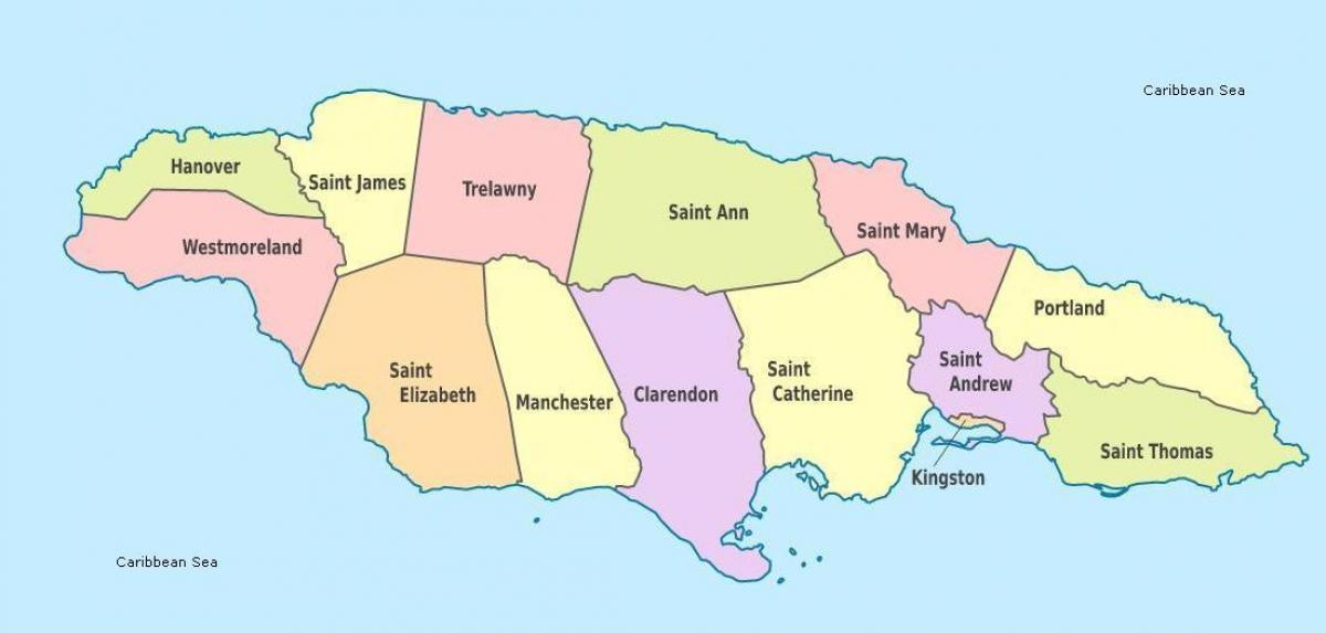 Karte von Jamaika, west indies mit Pfarreien - Karte von jamaica ...